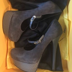Fendi gray platform maryjanes